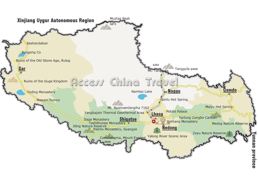 Lhasa China Map.Tibet Sichuan Maps Map Of Tibet Lhasa Chengdu Sichuan China